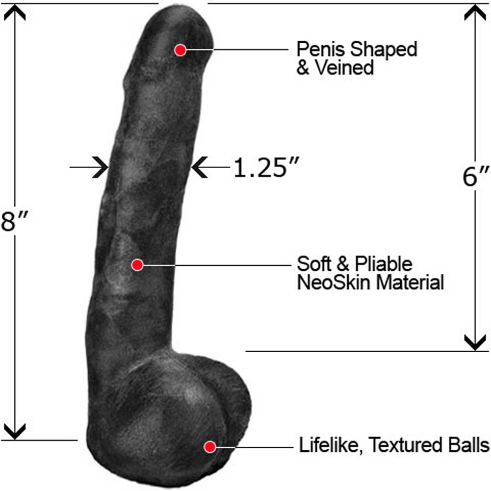 "Slim NeoSkin Dong with Balls 8"" Ebony - View #1"