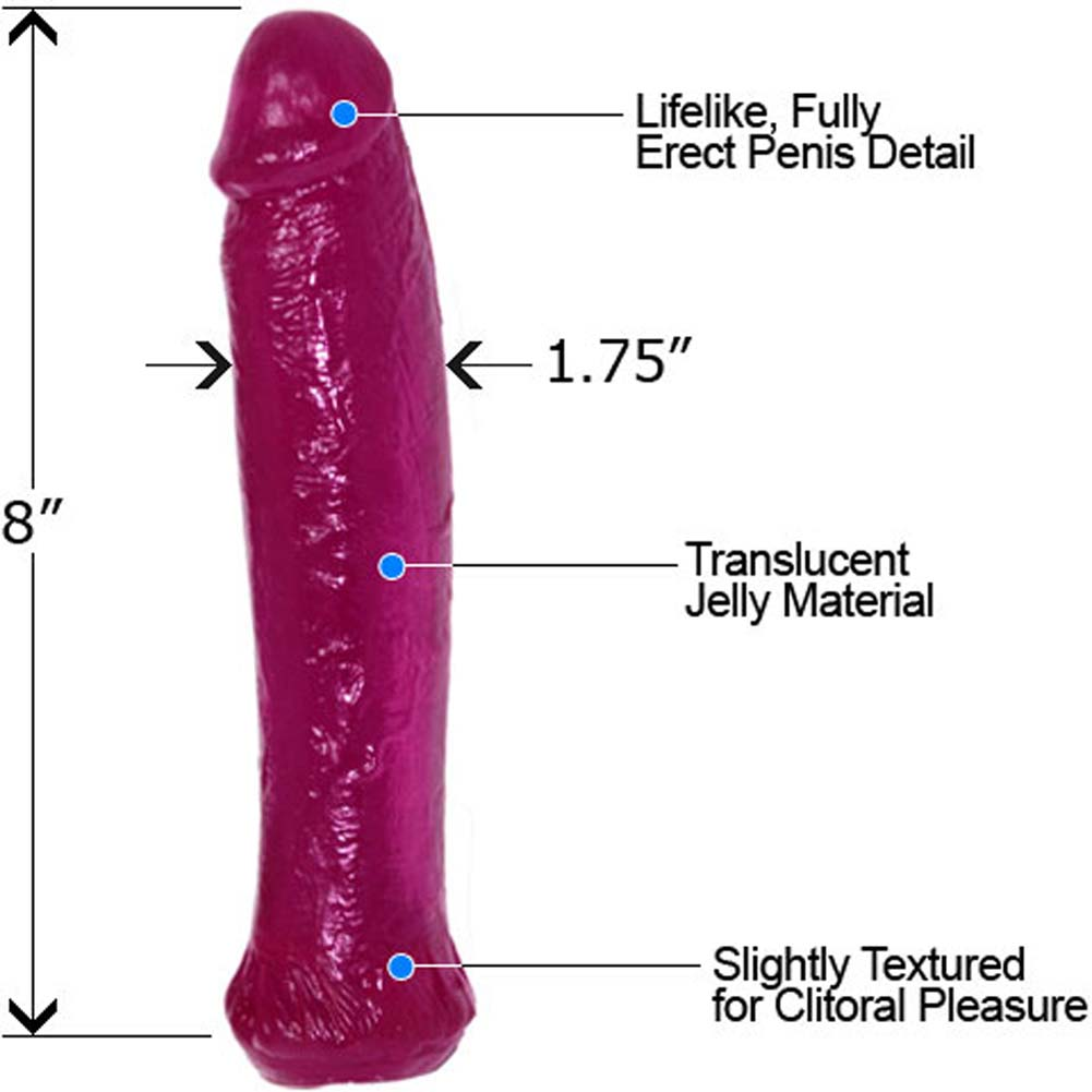 "Waterproof Straight Jelly Dong 8"" Violet - View #1"