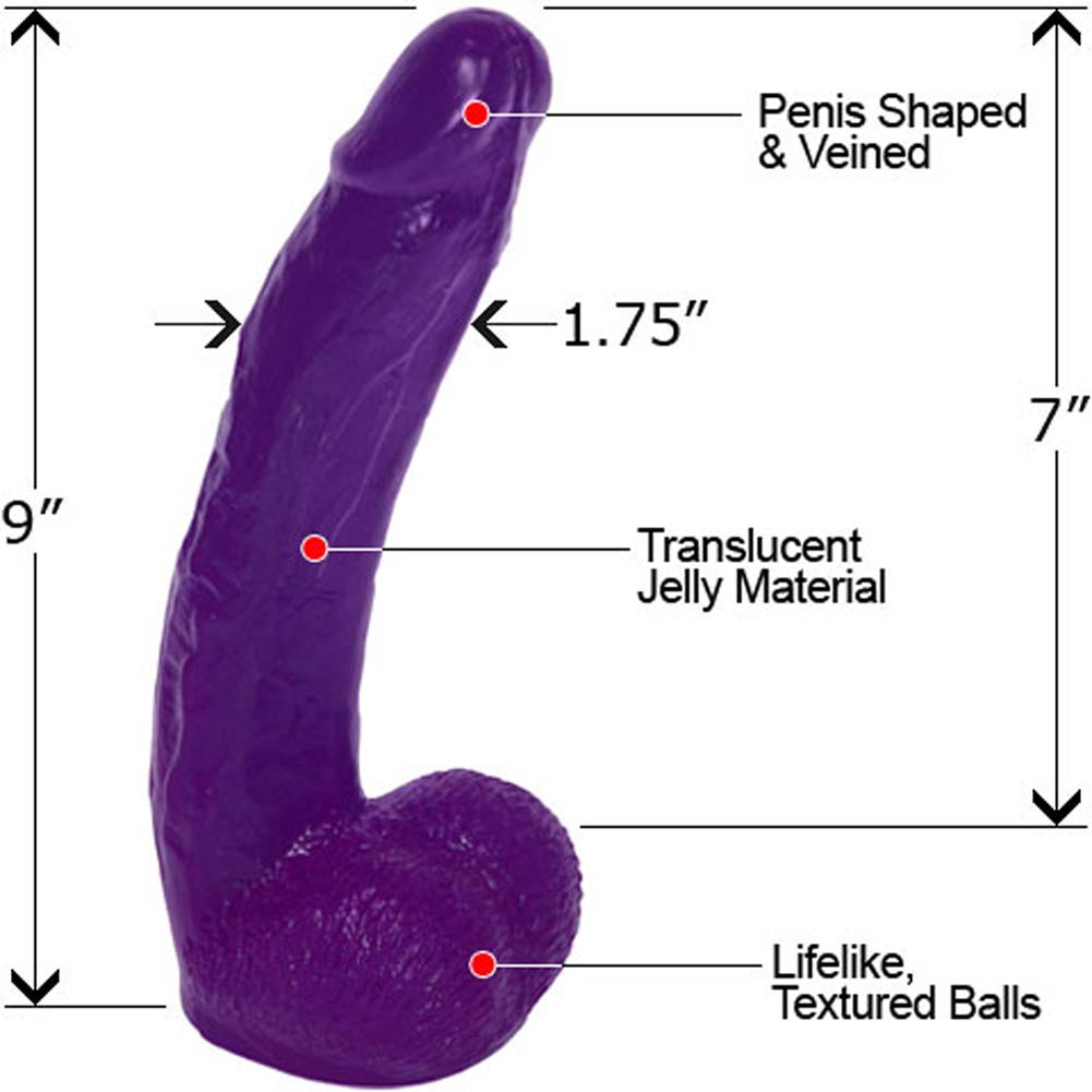"Blissful Bill Jelly Dong with Balls 9"" Sexy Purple - View #1"