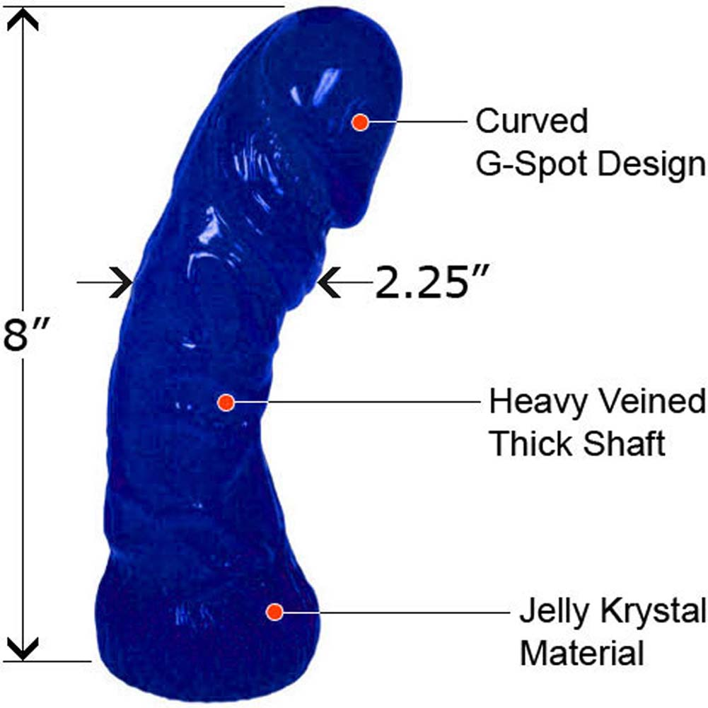 "Oversized G-Spot Curved Jelly Dong 8"" Blue - View #1"