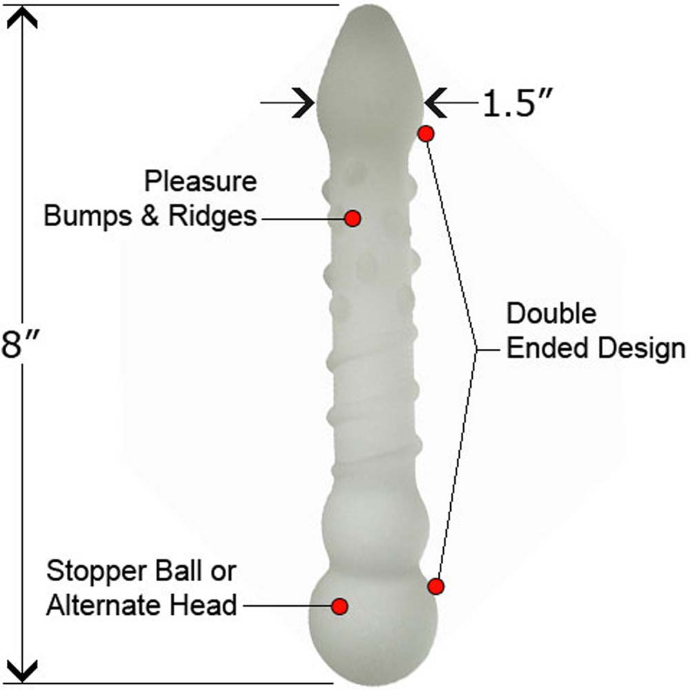 "Frosted Glass Gem Dildo with Pleasure Bumps 8"" Matte - View #1"