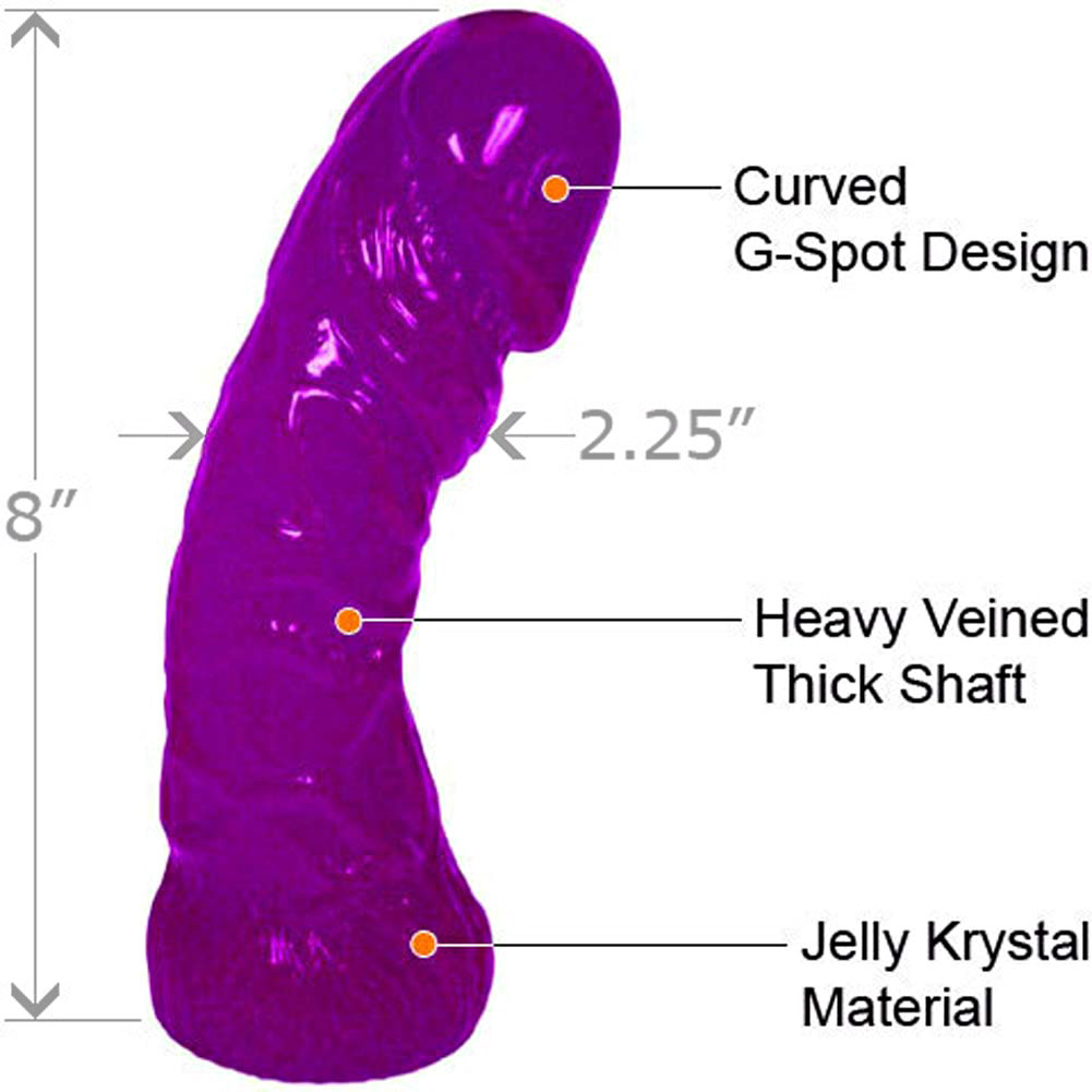 "Oversized G-Spot Curved Jelly Dong 8"" ASSORTED COLORS - View #1"