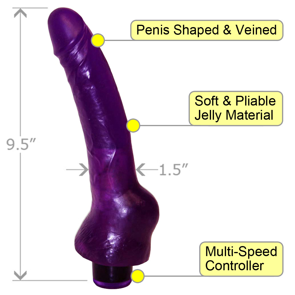 "Clitterific Vibrating Jelly Dong 9"" ASSORTED COLORS - View #1"