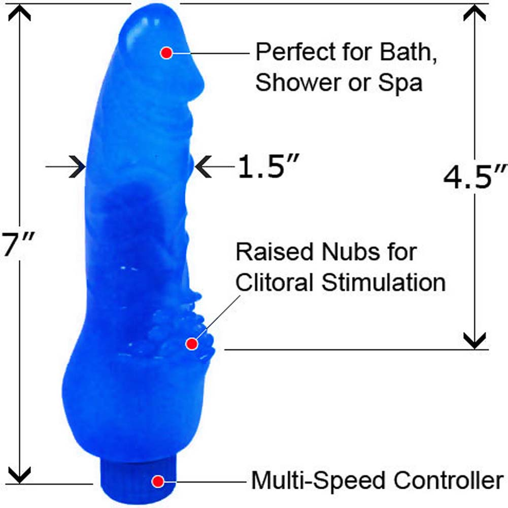 "Invader Waterproof Vibe with Pleasure Bumps 7"" Blue - View #1"