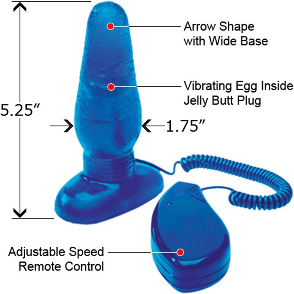 "Medium Sized Vibrating Jelly Butt Plug 5.25"" Blue - View #1"