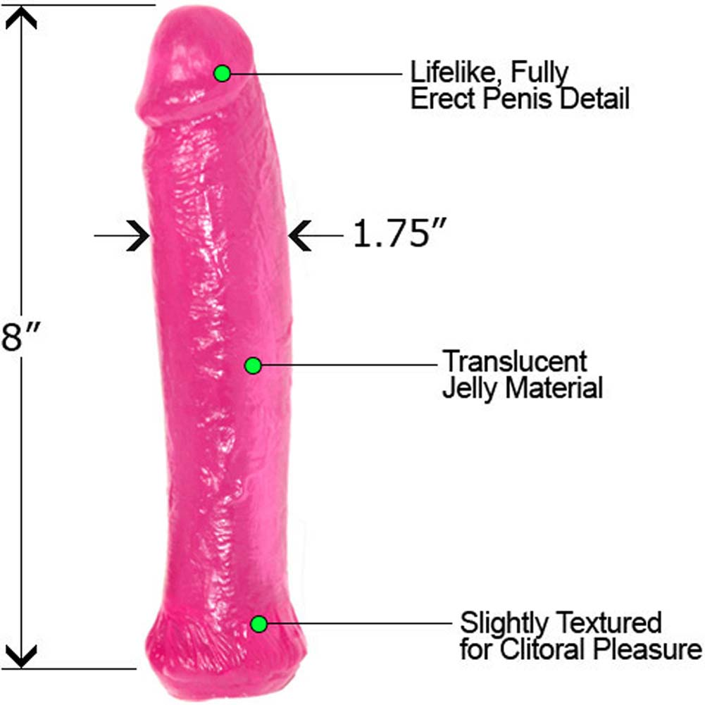 "Waterproof Jelly Straight Life Like Dong 8"" Sensual Pink - View #1"