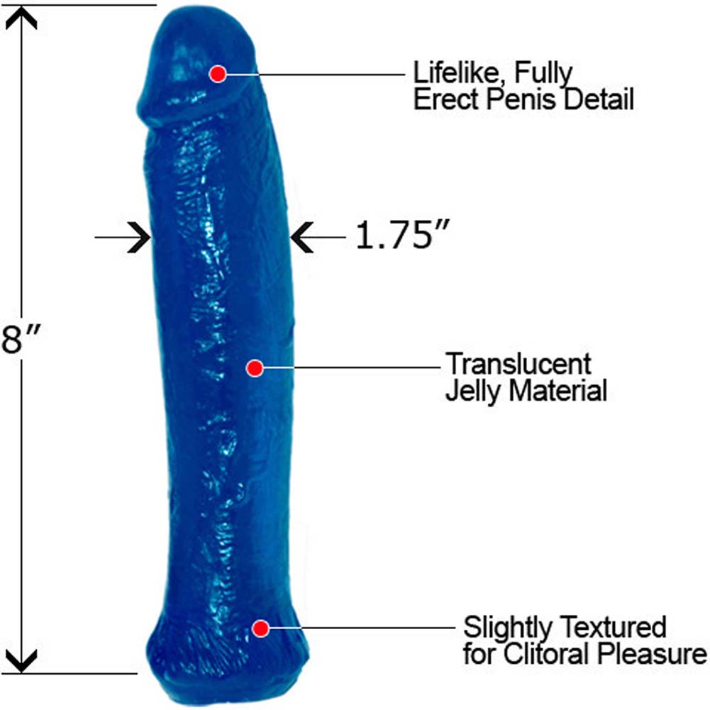 "Waterproof Jelly Straight Life Like Dong 8"" Lovely Blue - View #1"