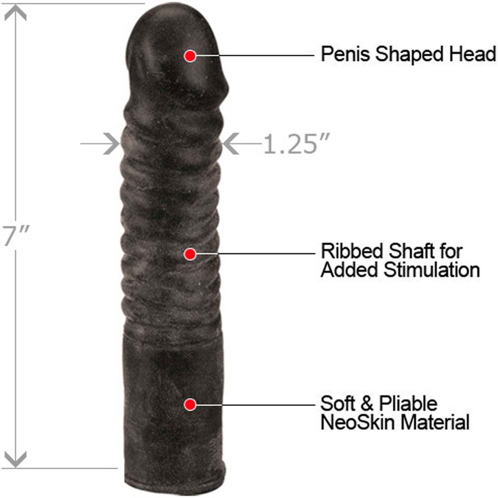 "Ribbed NeoSkin Life Like Dong 7"" Ebony - View #1"