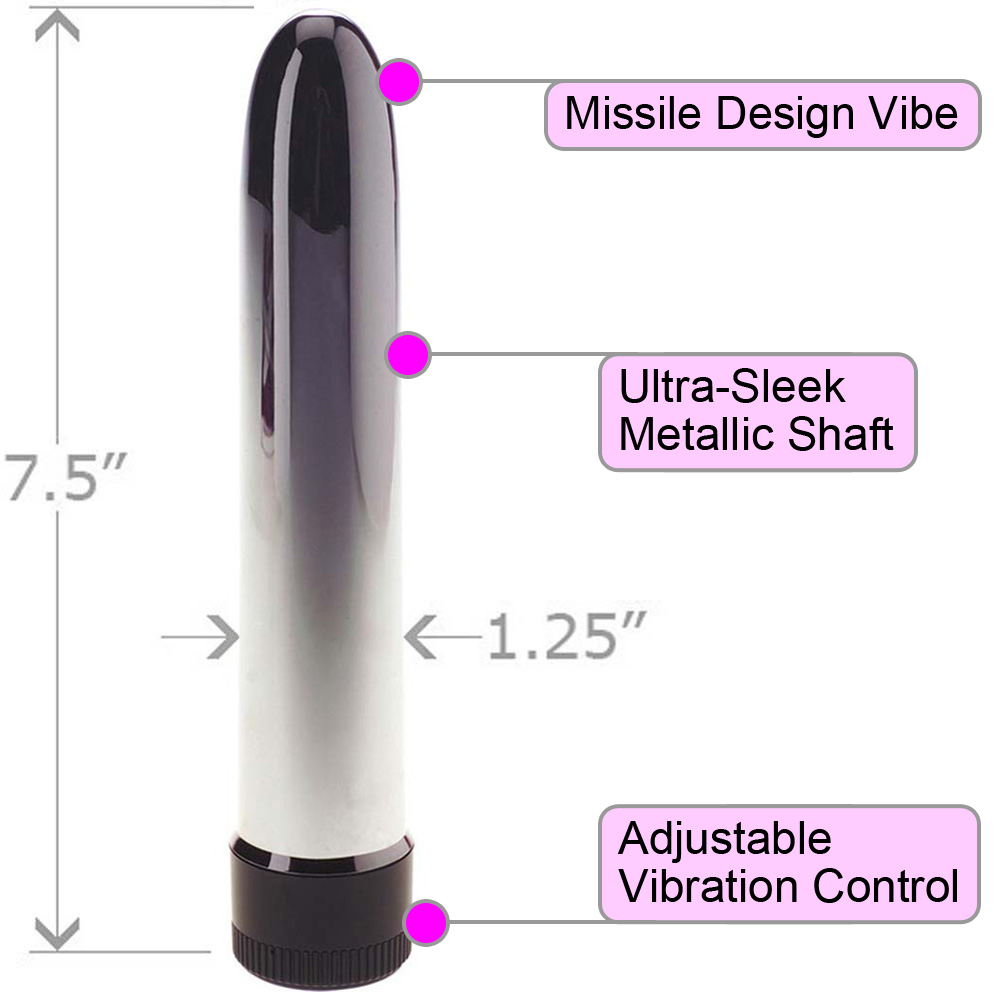 "OptiSex Stealth Intimate Vibrator for Men and Women 7.5"" Sleek Silver - View #1"