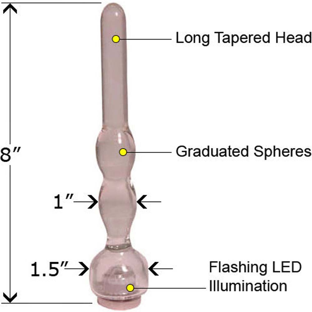 "Light Wave eGlass Dildo with Flashing LED Blinker 8"" - View #1"