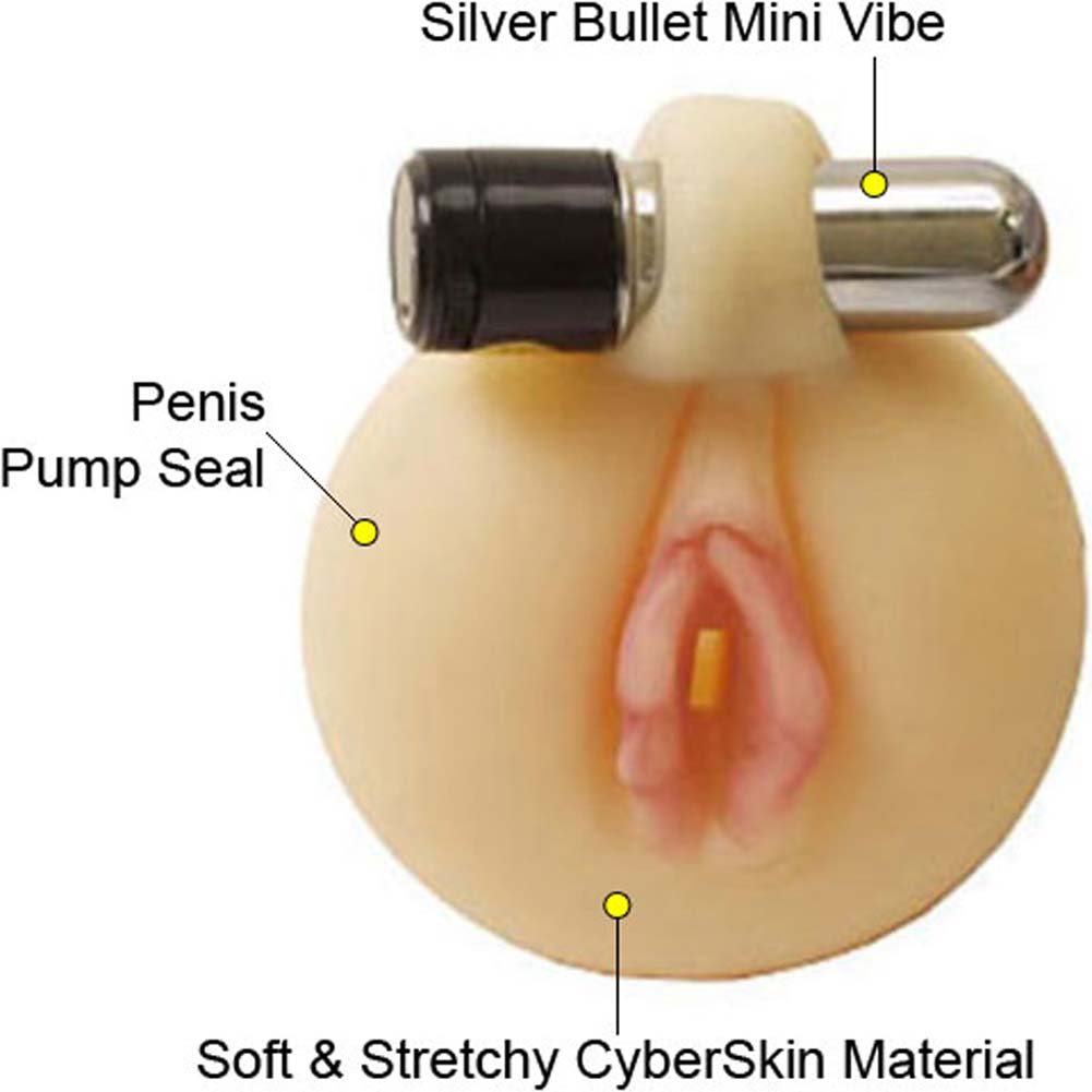 CyberSkin Pink Pussy Vibrating Penis Pump Seal - View #1