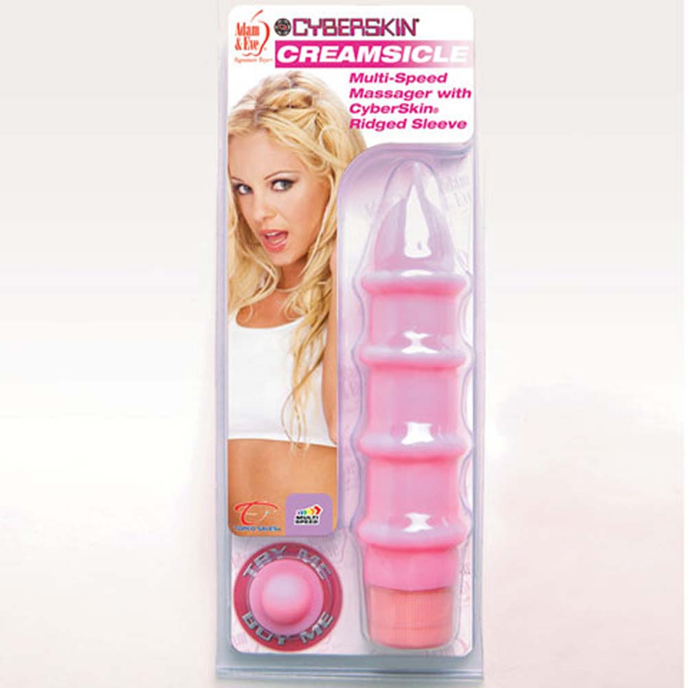 "Adam and Eve CyberSkin Creamsicle Vibrator 7.75"" Pink - View #3"
