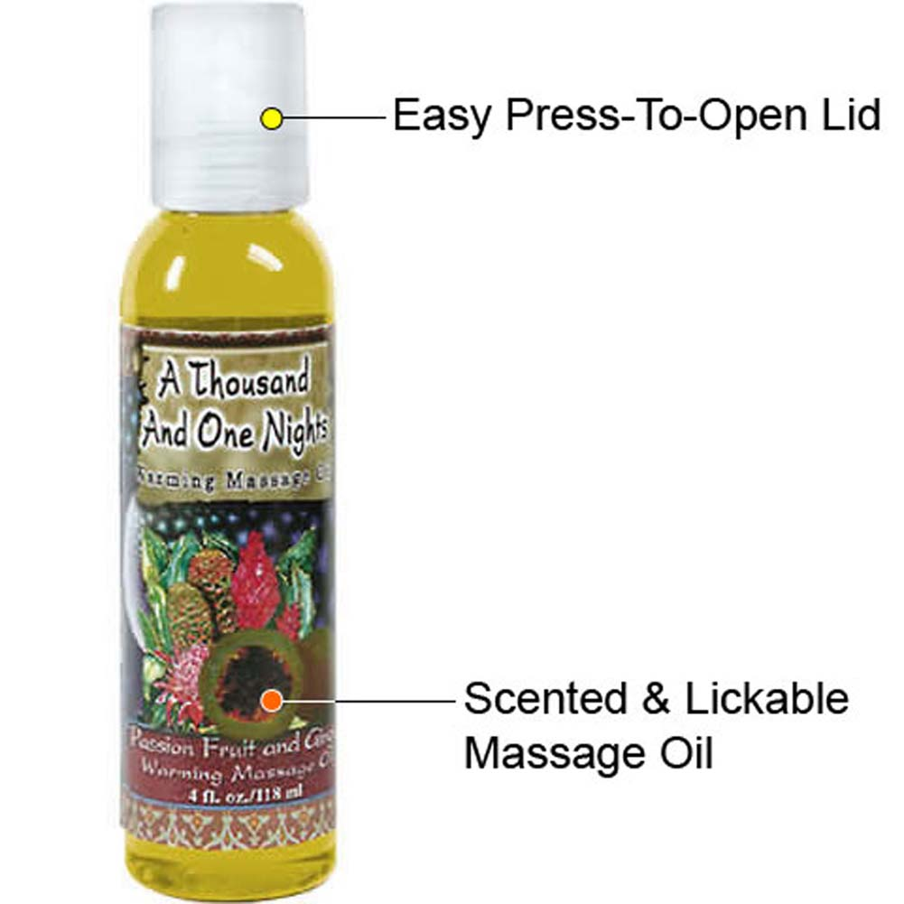 1001 Nights Warming Massage Oil 4 Fl. Oz. Passion Fruit and Ginger - View #1