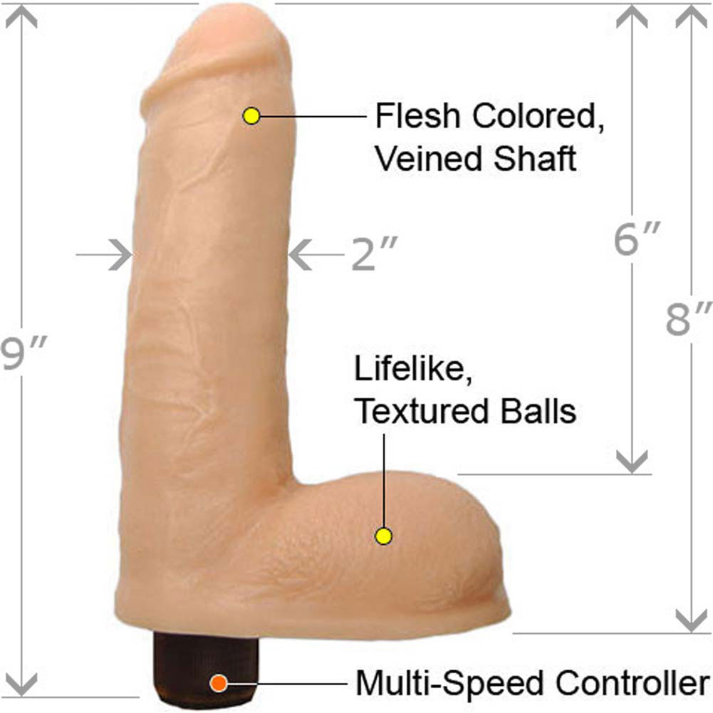 "Premium Silicone Massive Vibrating Cock with Balls 9"" Natural - View #1"