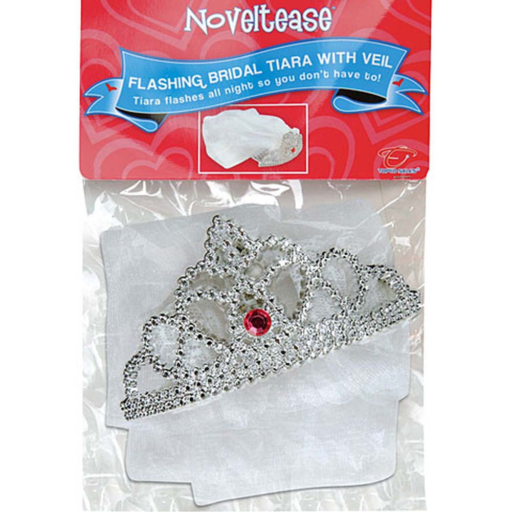 Bachelorette Party Flashing Bridal Tiara with Veil - View #3
