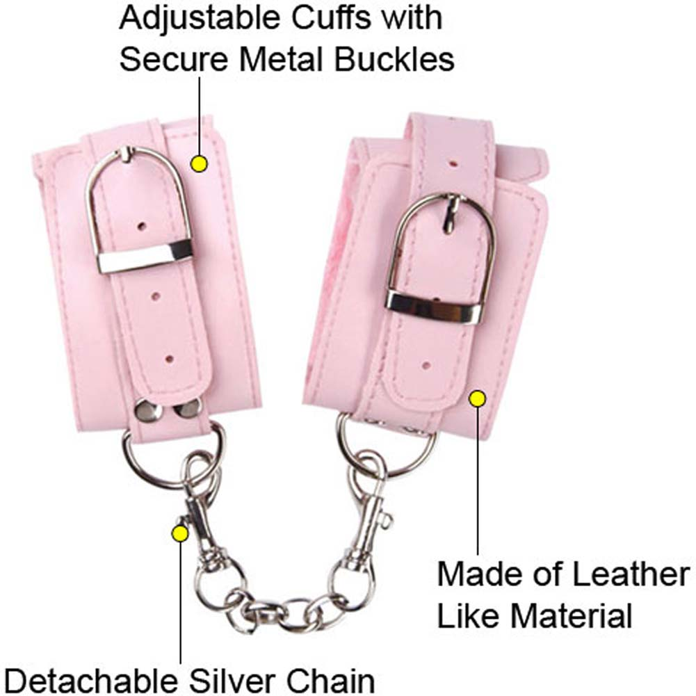 Naughty Girl Lined Wrist Cuffs with Silver Chain Pink - View #1