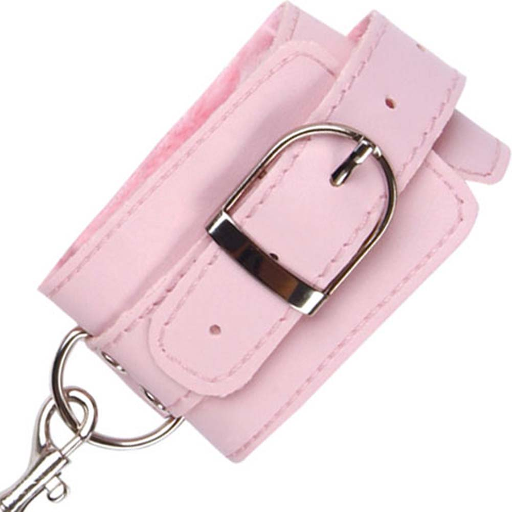 Naughty Girl Lined Wrist Cuffs with Silver Chain Pink - View #3