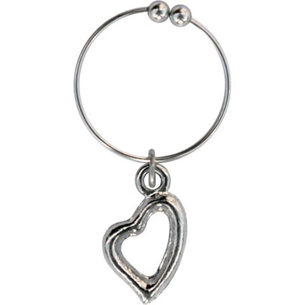 Non Piercing Belly Button Ring with Silver Heart Charm - View #1