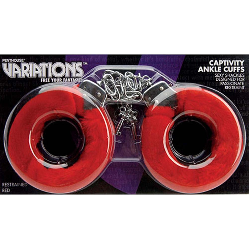 Captivity Cuffs by Penthouse Variations Restrained Red Fur - View #3