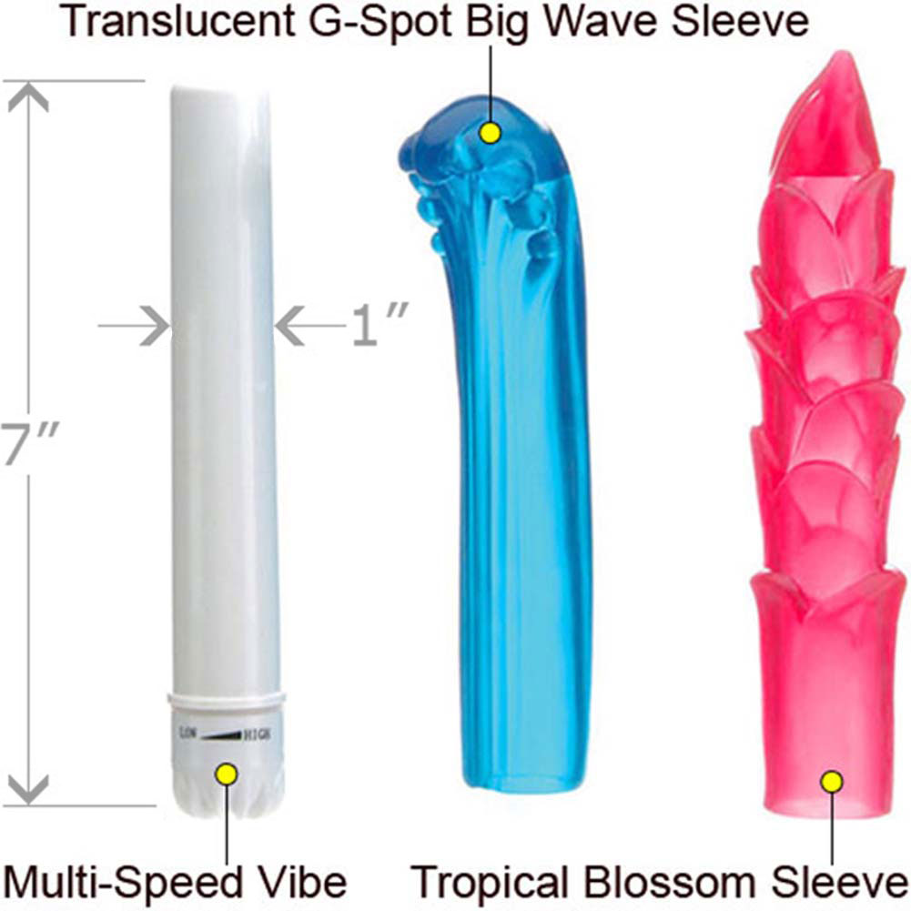 "Eden Island Waterproof Fantasy Kit with Personal Vibrator and 2 Jelly Sleeves 7"" - View #1"