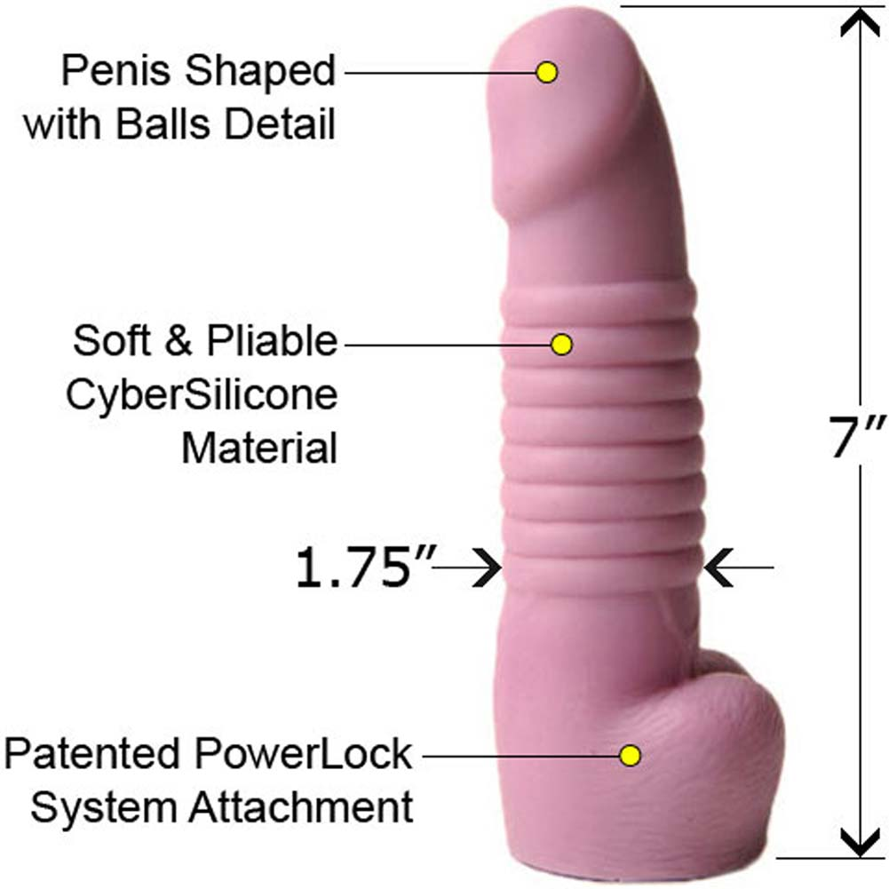 "PowerLock CyberSilicone Cock with Balls 7"" Lavender - View #1"