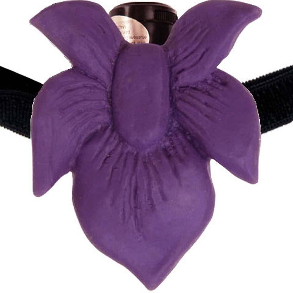 CyberSkin Passion Flower Hands Free Mini Strap-On Vibe Purple - View #2