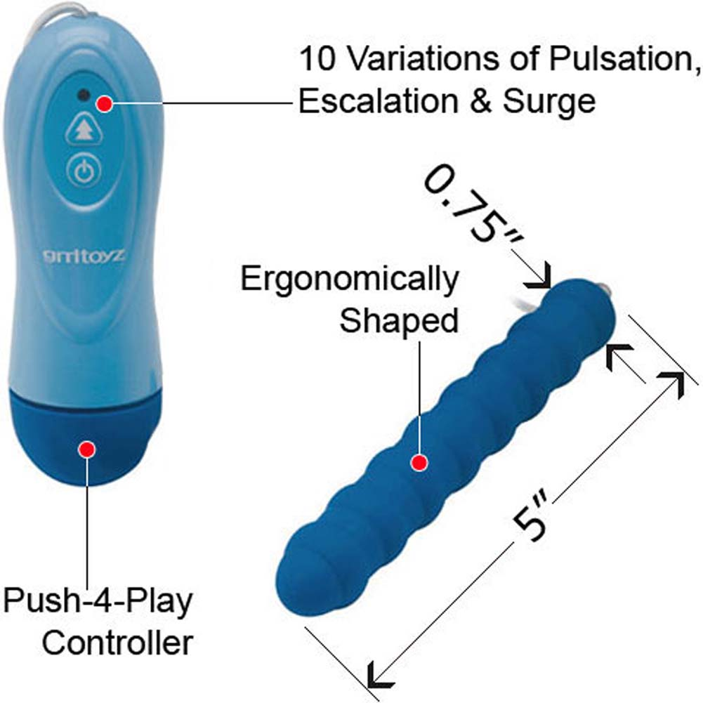 "10X Waterproof Ripple Stick Intimate Vibrator 5"" Blue - View #1"