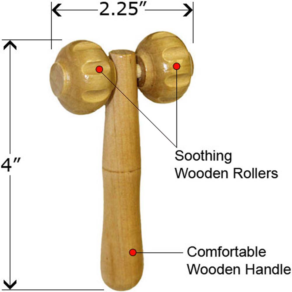 Wooden Mini Massager with Stimulating Rollers - View #1