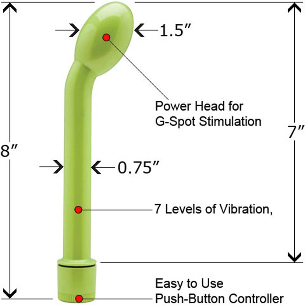 "PowerHead Multi Speed G-Spot Vibe 8"" Green with Lube - View #1"