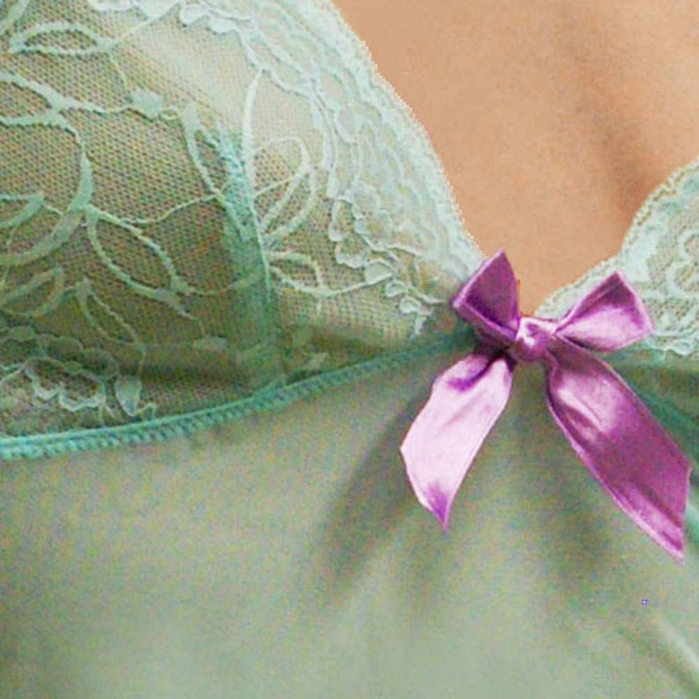 Flowered Lace with Bow Cami and Short Set Small Turquoise - View #4