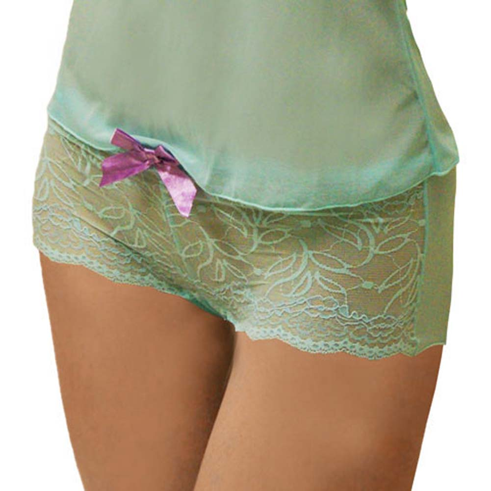 Flowered Lace with Bow Cami and Hipster Set Medium Turquoise - View #3