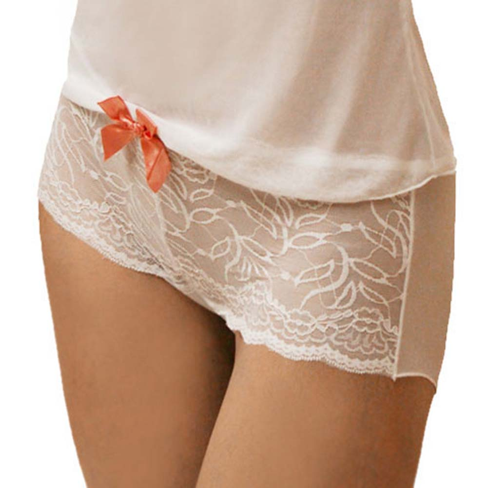 Flowered Lace with Bow Cami and Short Set Medium White - View #3