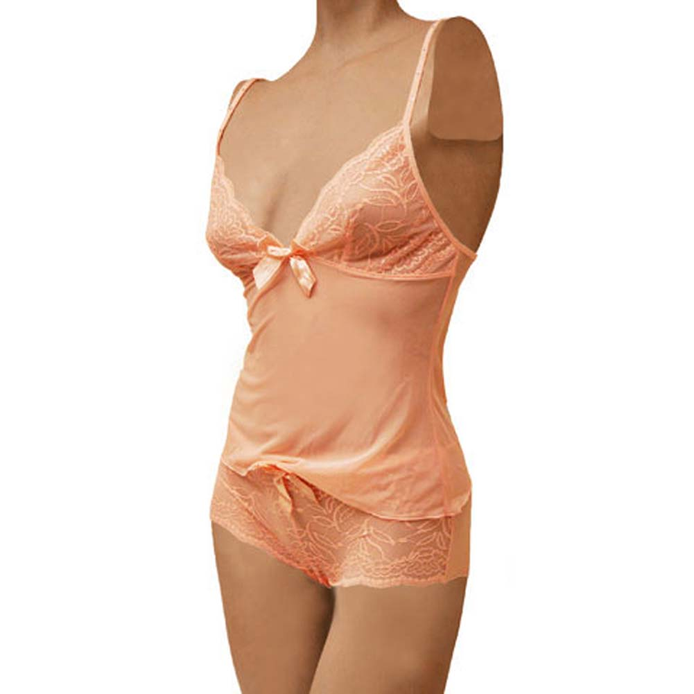 Flowered Lace with Bow Cami and Short Set Large Pink - View #1