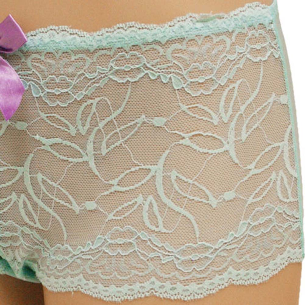 Flowered Lace with Flirty Bow Hipster Extra Large Turquoise - View #3