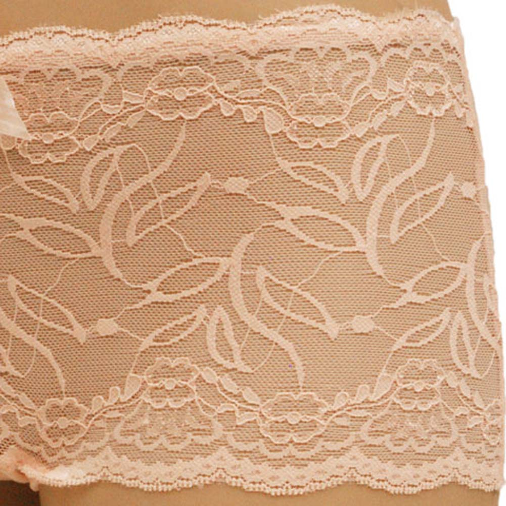 Flowered Lace with Flirty Bow Boyshort Small Pink - View #3