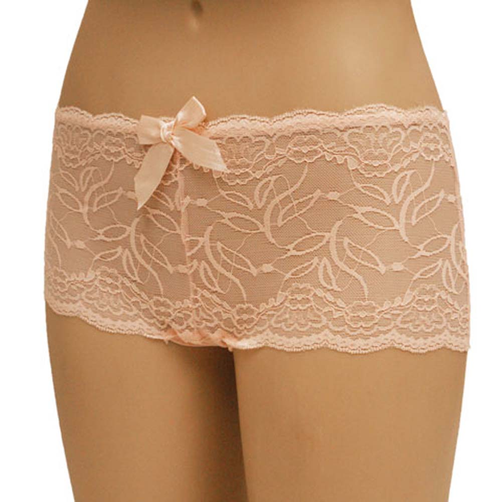 Flowered Lace with Flirty Bow Boyshorts Large Pink - View #1