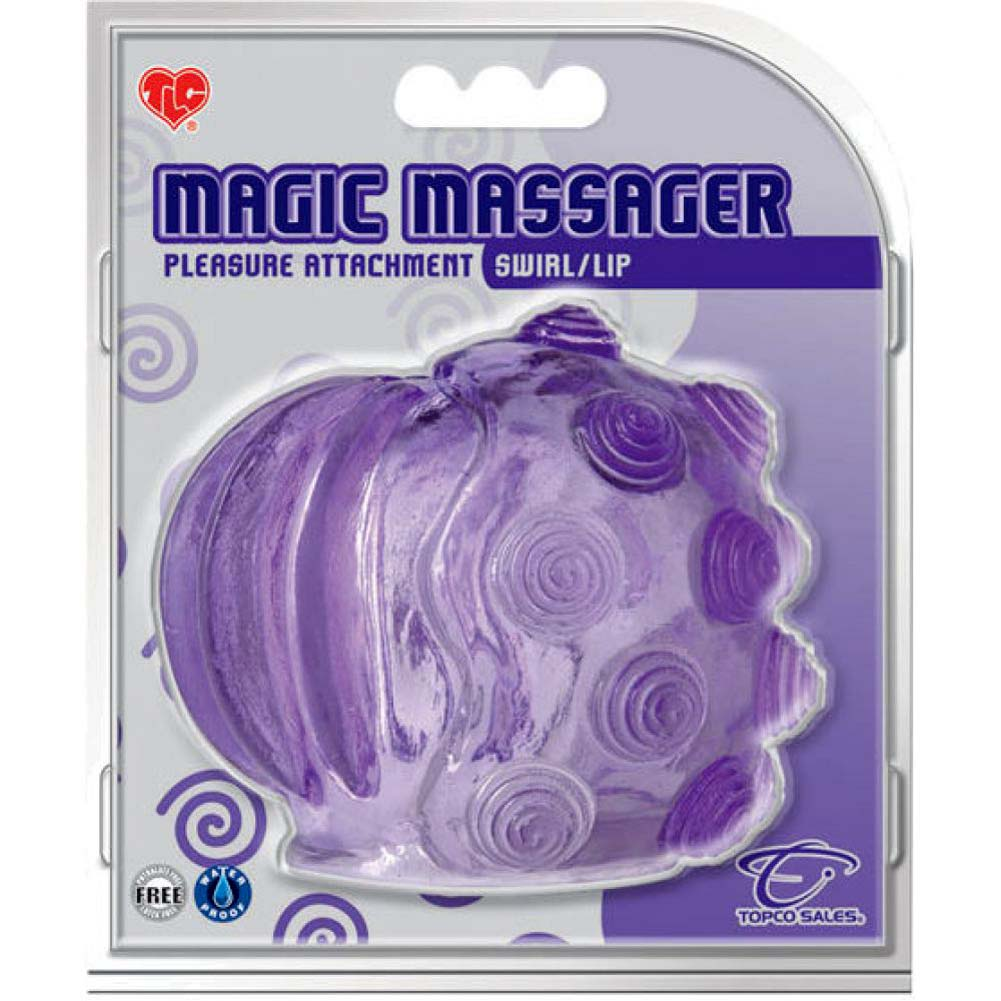 Magic Massager Pleasure Attachment Swirls and Lips Purple - View #3