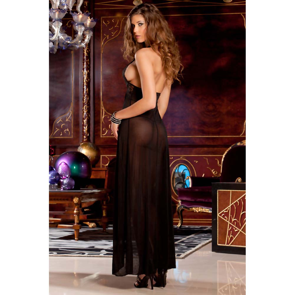 Rene Rofe Evening Halter Lace Gown and G-String Set Medium/Large Black - View #2