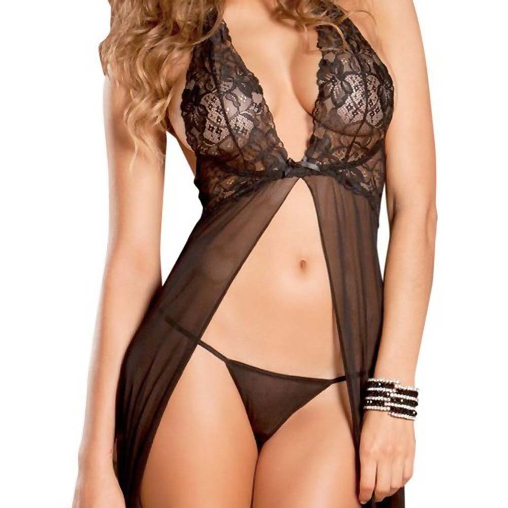 Rene Rofe Evening Halter Lace Gown and G-String Set Medium/Large Black - View #4