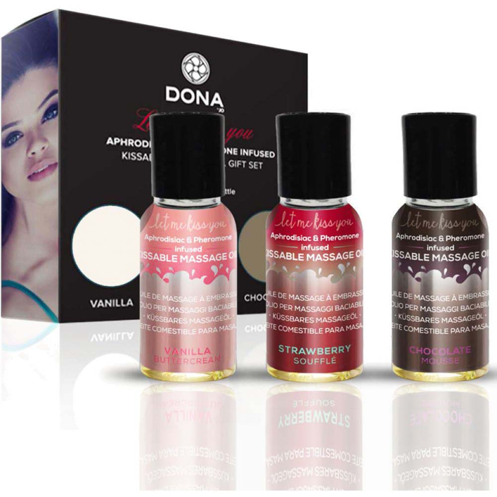 DONA Let Me Kiss You Flavored Massage Oil Gift Set for Lovers - View #1