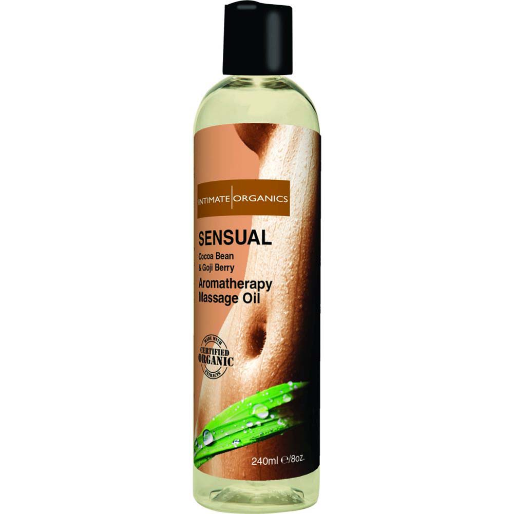 Intimate Organics Sensual Aromatherapy Massage Oil 8 Fl.Oz Cocoa Bean and Goji Berry - View #1