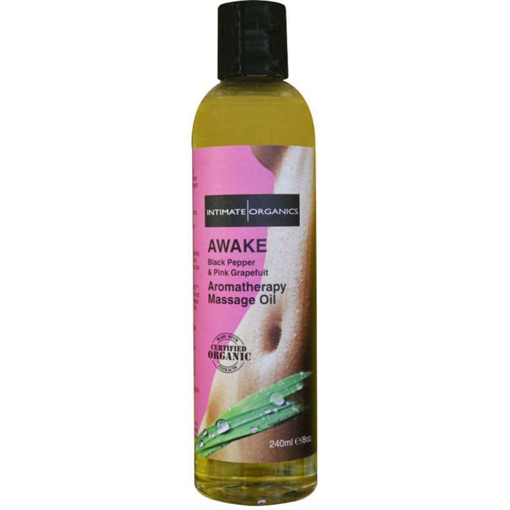 Intimate Organics Awake Aromatherapy Massage Oil 8 Fl.Oz Black Pepper and Pink Grapefruit - View #1
