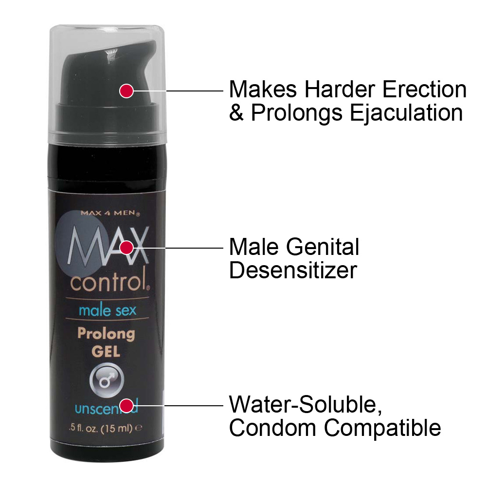 Max Control Prolong Gel for Men 0.5 Fl.Oz 15 mL Mini Bottle - View #1