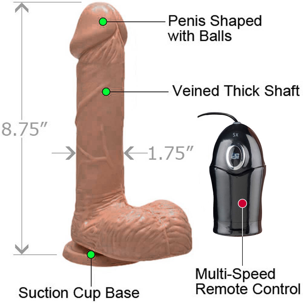"Realistic 7"" Cock with Suction and Vibration Caramel - View #1"