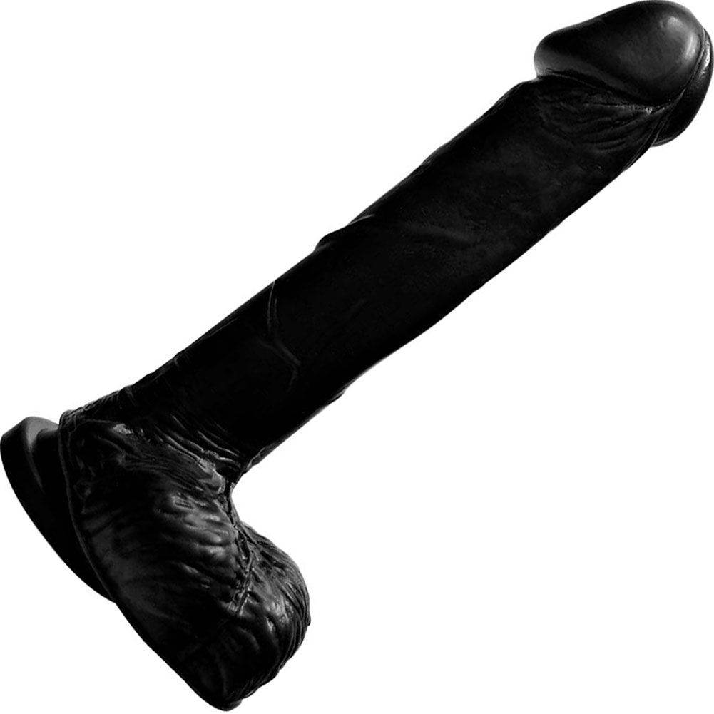 "Realistic 8"" Cock and Balls with Suction Mount Base Kinky Black - View #2"