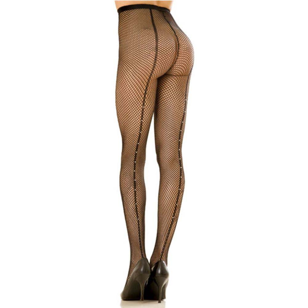 Rene Rofe Fishnet Pantyhose with Backseam and Rhinestones Queen Size Black - View #1