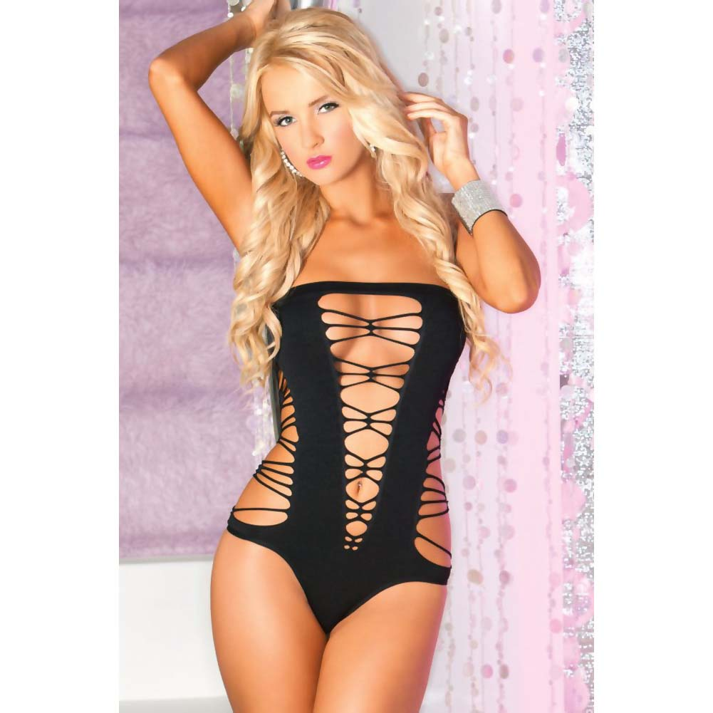 Pink Lipstick Juicebox Sexy Seamless Plunging Bodysuit One Size Black - View #3