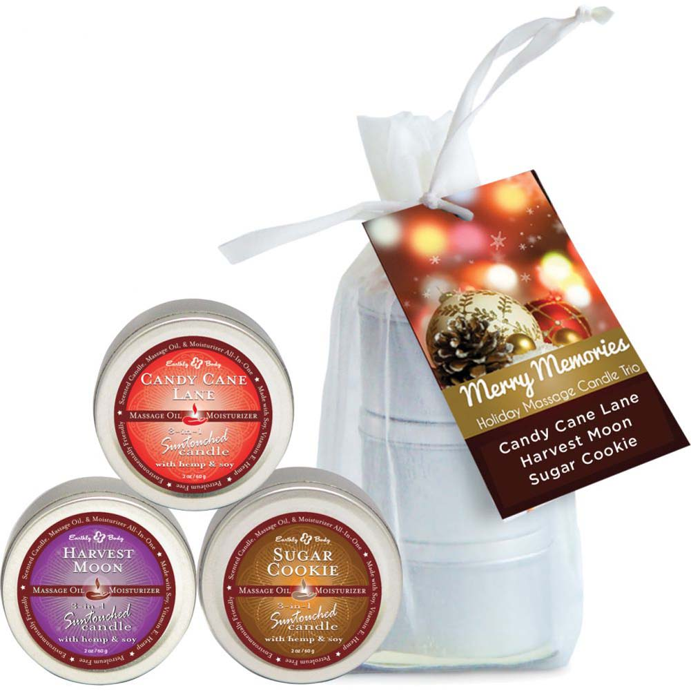 Earthly Body Holiday Candle Trio Gift Bag Candy Cane Harvest Moon Sugar Cookie 2 Oz Each - View #2