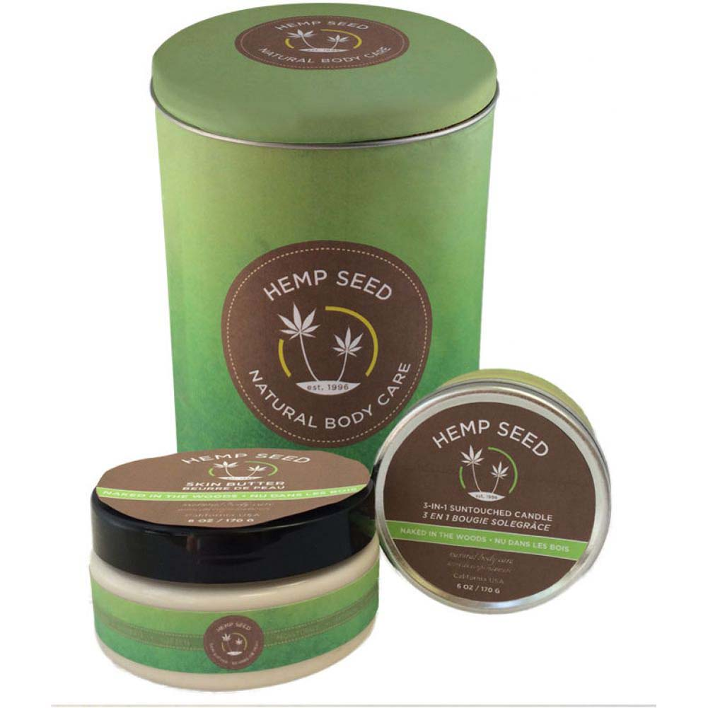 Earthly Body Holiday Tin 8 Oz Naked in the Woods Skin Butter and 6 Oz Massage Candle - View #1