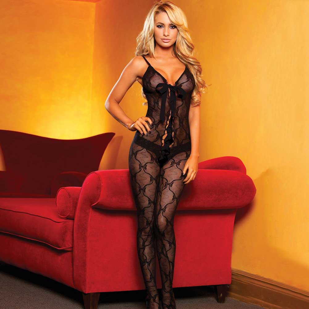 Hustler Lace Up Crotchless Bodystocking One Size Fits Most Black - View #1